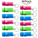 Mini Flashlight Keychain - 24 Pack Assorted Colors, Green, Light Blue and Pink, Batteries Included - for Kids, Party Favor, Goody Bag Filler, Gift, Prize, Pocket Size, Chain for Key.