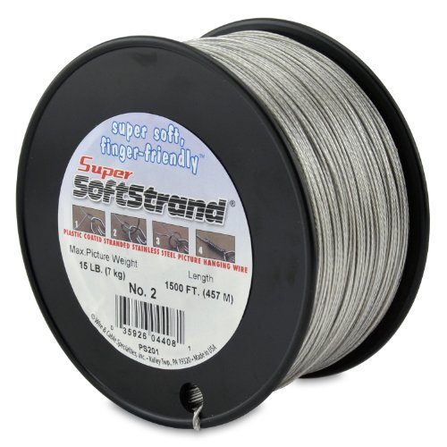 SuperSoftstrand Size 2-1,500-Feet Picture Wire Vinyl Coated Stranded Stainless Steel