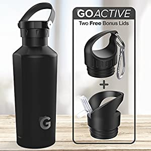 GO Active Flex- Stainless Steel Double Wall Bottle comes with 3 lids. Use Hot as a Travel Coffee Mug or cold as Insulated Sport Bottle. Hot Drinks 12+ hours Cold drinks over 24hrs (Black, 24 oz)