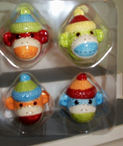 Sock Monkey Monkeez - Sock Monkey Nursery Drawer Pulls SET of 4 Ceramic 2 Inch Monkeez