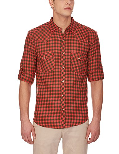 GHPC Men's Casual Checkered Slim Fit Cotton Shirt