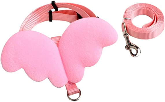 POPETPOP Bearded Dragon Leash Angel Wing Collar Strap Cat Hauling Cable for Hamster Small Pet Kitten Leash Size M Pink