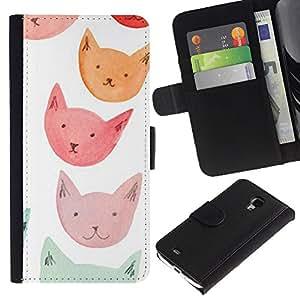 APlus Cases // Samsung Galaxy S4 Mini i9190 MINI VERSION! // Rosado anaranjado rojo azul gato caras // Cuero PU Delgado caso Billetera cubierta Shell Armor Funda Case Cover Wallet Credit Card