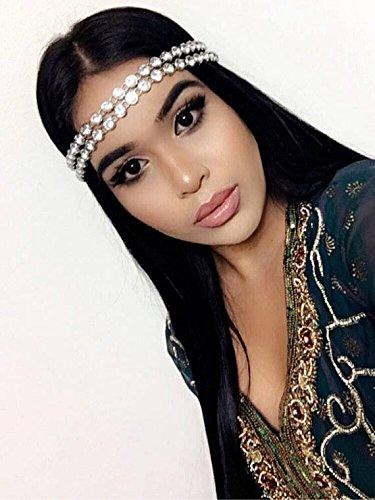 Glam Headbands - Silver Rhinestone Wedding Headband Bridal Goddess Bohemian Boho Grecian Head Chain Hair Jewelry Head Piece Bollywood Bride Glam BLING Hair Jewelry