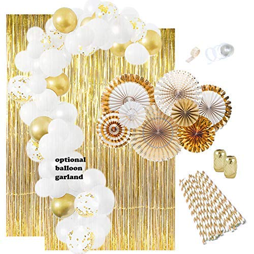 Gold And White Party (Gold Party Decorations: Gold Balloons, Weddings Decorations White Balloon Garland Kit Paper Fans Gold Foil Curtain New Years Birthday Decorations Engagement Party Bachelorette Graduation)