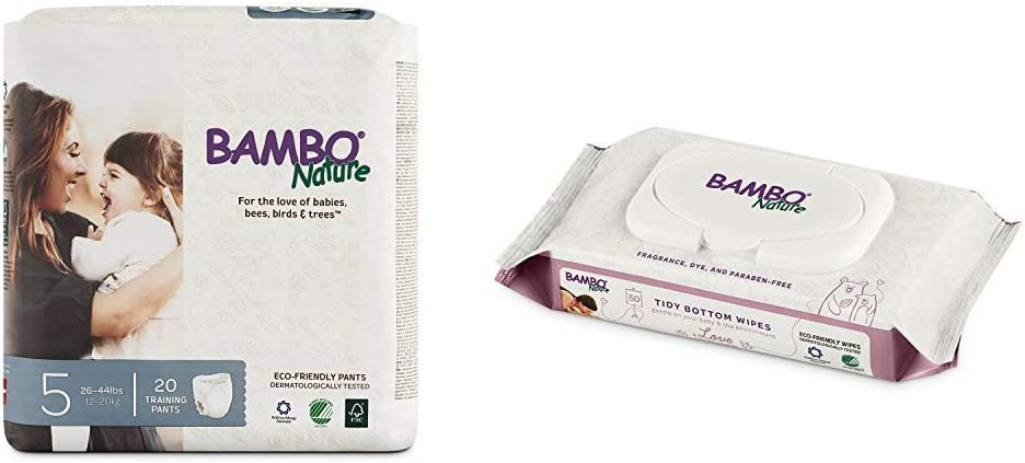 Bambo Nature Premium Training Pants, Size 5 (26-44 lbs), 20 Count with Bambo Nature Tidy Bottoms Baby Wipes 50 Sheets