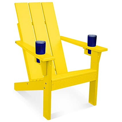 Beau Porchgate Amish Made Heavy Duty Modern Recycled Plastic Adirondack Chair  With Cupholders (Lemon Yellow)