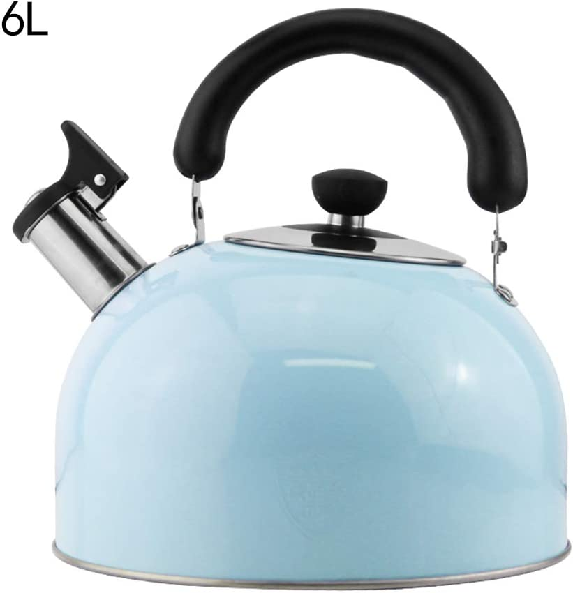 Whistling Kettle Stainless Steel Blue,304 Stainless Steel Kettle Gas Induction Cooker Universal,3L