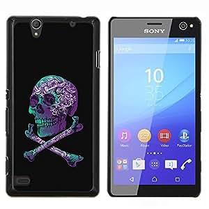 EJOOY---Cubierta de la caja de protección para la piel dura ** Sony Xperia C4 ** --Cráneo púrpura Negro Teal Crossbones