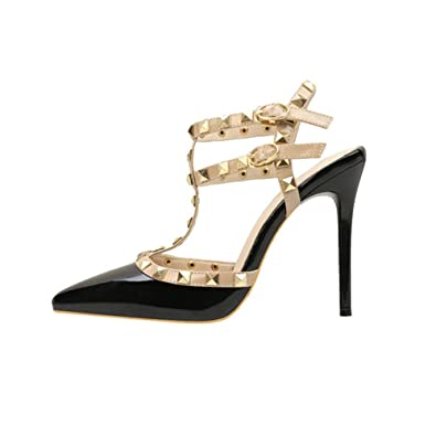 Sexy Women Party Shoes Buckle Rivet T-Strap Lady Stiletto Pointed-toe High Heels