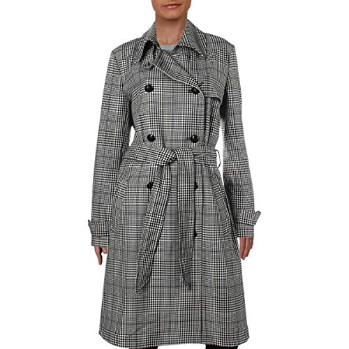 LAUREN RALPH LAUREN Womens Plaid Mid-Length Trench Coat B/W 6 Black (Faux Leather Trim Trench Coat Ralph Lauren)