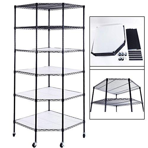 Bonnlo 6-Tier Rolling Heavy Duty Commercial Polygonal Corner Shelf Wire Shelving Unit Adjustable Storage Rack Free Standing Garage with 5 Wheels 26 4/5 L x 26 4/5 W x 71