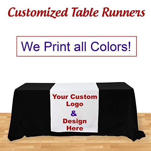 BANNER BUZZ MAKE IT VISIBLE Customized Table Runners 2' x 5.67' Free Design with using Your Text and image -