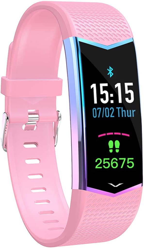 CAOQAO- Reloj Mujer Hombre Unisex Pulsera Inteligente Presión Arterial Monitor de Ritmo cardíaco Bluetooth Fitness Reloj Negro Cielo Azul Rosa