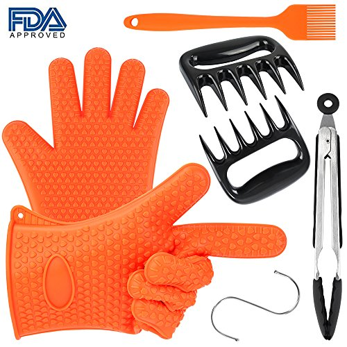 Silicone BBQ Set-Heat Resistant Grill Oven/Cooking Gloves, Meat Shredder Claws, Kitchen Tong, S Hook and Silicone Basting Brush,Super Value of Barbecue Accessories for Cooking, Barbecue - Grill Hook