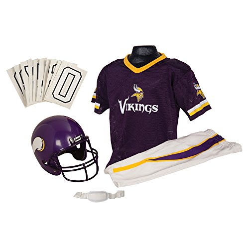 Franklin Sports Deluxe NFL-Style Youth Uniform - NFL Kids Helmet, Jersey, Pants, Chinstrap and Iron on Numbers Included - Football Costume for Boys and Girls (Cloth Viking Helmet)