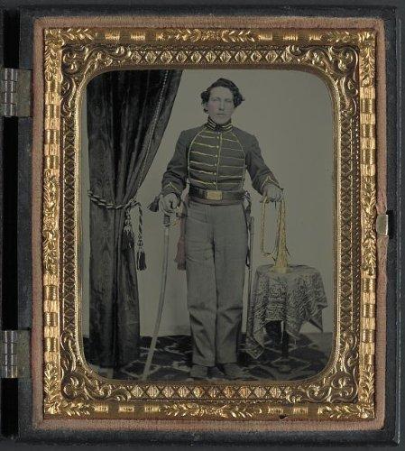 Civil War Bugle Union - HistoricalFindings Photo: Unidentified Cavalry Soldier,Union Uniform,Bugle,Sword,American Civil War,c1861