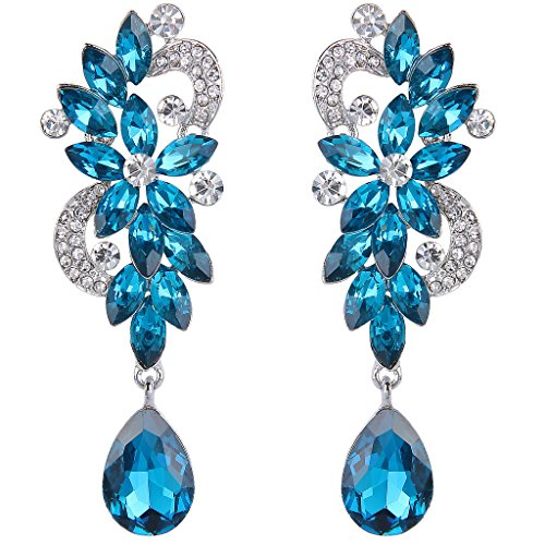 BriLove Women's Bohemian Crystal Flower Wedding Bridal Chandelier Teardrop Bling Long Dangle Earrings Blue Turquoise Color (Long Cluster Earrings)