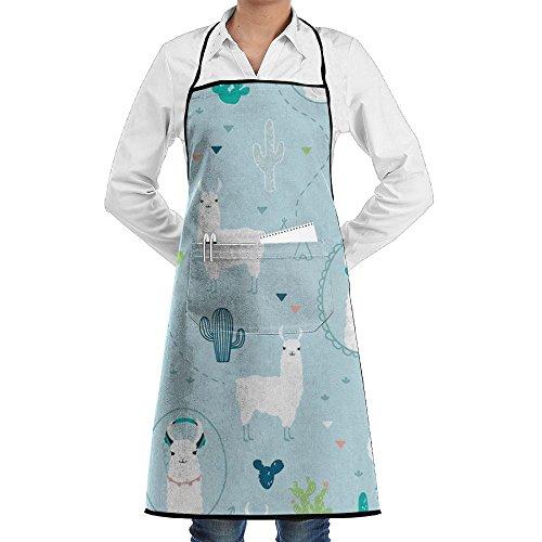 BOBIMU Alpaca Polyester Kitchen Apron Cooking Baking Garden Chef Apron Bib With Pocket For Women by BOBIMU