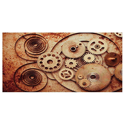 Mechanical Clock Copper (iPrint 47.2x23.6 Floor/Wall Sticker Removable,Copper,Mechanical Clocks Details Old Rusty Look Backdrop Gears Steampunk Design Decorative,Dark Orange Peach,for Living Room Bathroom Decoration)