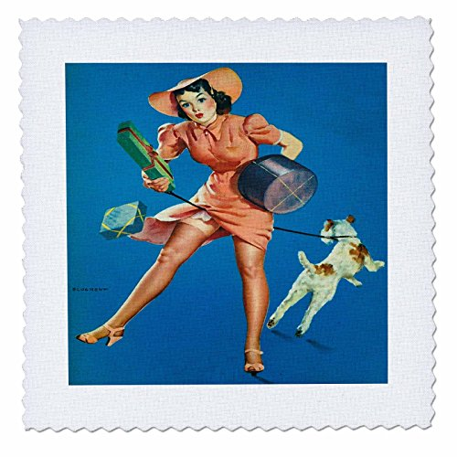 3dRose Florene - Retro Pinups - Print of Elvgren Pinup Help Wanted - 10x10 inch quilt square (qs_204071_1) -