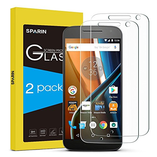 SPARIN Moto G4 Screen Protector, 2 Pack Tempered Glass Screen Protector for Motorola Moto G 4th Generation 5.5 inch with Ultra Clear, Scratch Resistant (G Moto Mobile Phone 2)