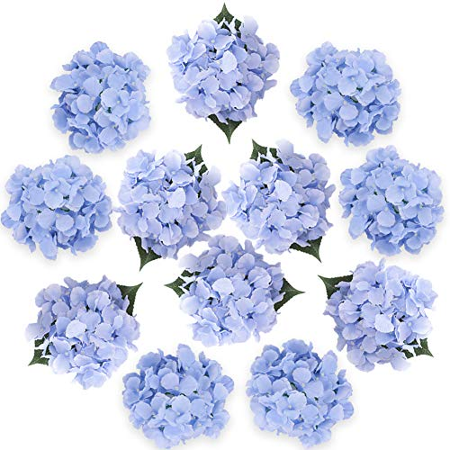 Felice Arts Silk Hydrangea Heads with Stems Artificial Flowers for DIY Bouquets Wedding Party Home Decor,Pack of -