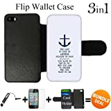 Anchor Nautical Quote Custom iPhone 5 Wallet Cases/5S Wallet Cases,Bundle 3in1 Comes with Screen Protector/Universal Stylus Pen by innosub