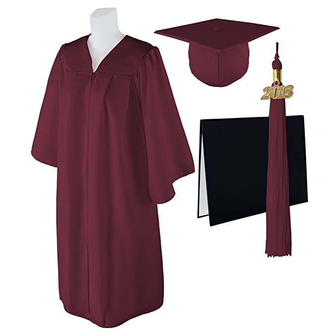 "Size  5/'9/""-5/' Standard Matte Graduation Cap and Gown with Matching 2018 Tassel"