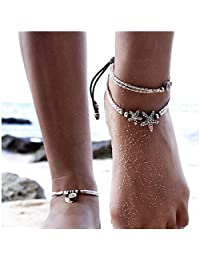 Boho Starfish Anklet Vintage Ankle for Women Buddha Foot Jewelry Beach Summer Barefoot