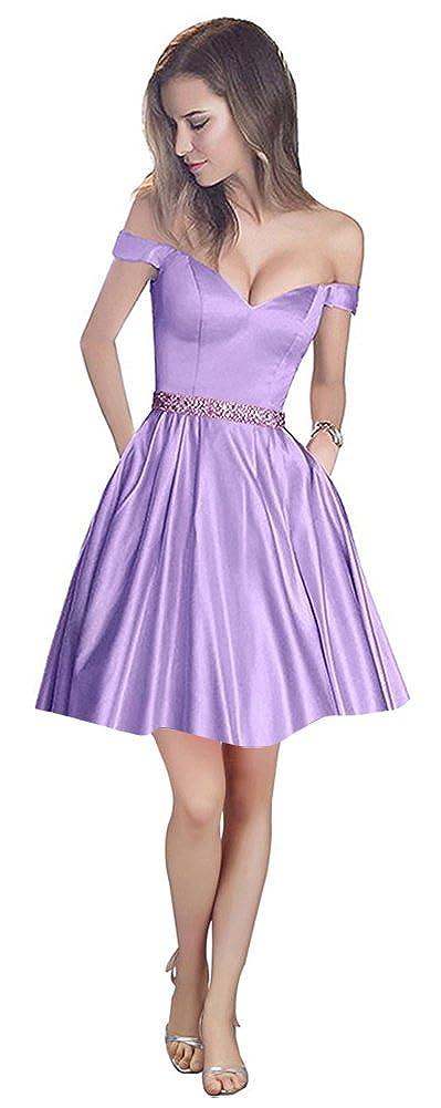 Lavender Ai Maria Women's VNeck Damask Short Prom Dress OffTheShoulder Pocket Homecoming Dress