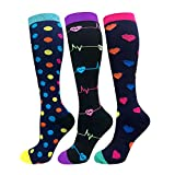 Compression Socks For Men & Women - 3 Pairs - Best for Running,Medical,Athletic Sports,Flight Travel, Pregnancy - 20-25mmHg (Multicoloured 5, S/M)