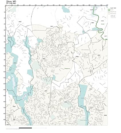 Amazoncom ZIP Code Wall Map of Olney MD ZIP Code Map Laminated