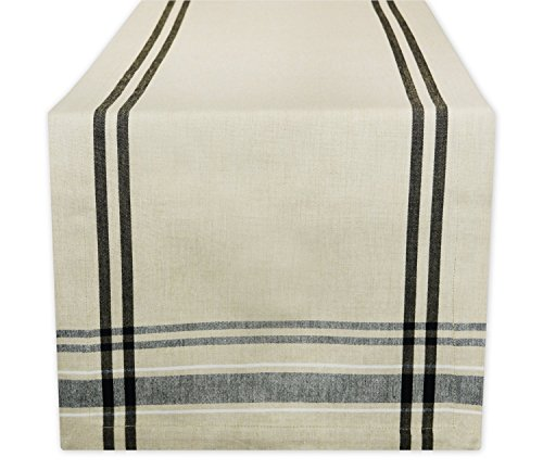 "DII 100% Cotton, Machine Washable, Everyday French Stripe Kitchen Table Runner For Dinner Parties, Events, Decor 14x108"" - Black"
