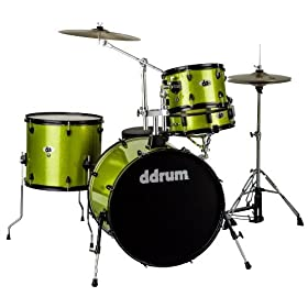 ddrum D2R LIME SPKL D2 Rock Kit with Black Hardware, Lime Sparkle 5