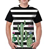 Puppylol Chic Watercolor Flowering Cactus Men's Comfort Raglan Short Sleeve Baseball Tees