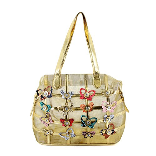 LANY Butterfly Mesh Summer Beach Bag Two-Way Look Tote (gold)