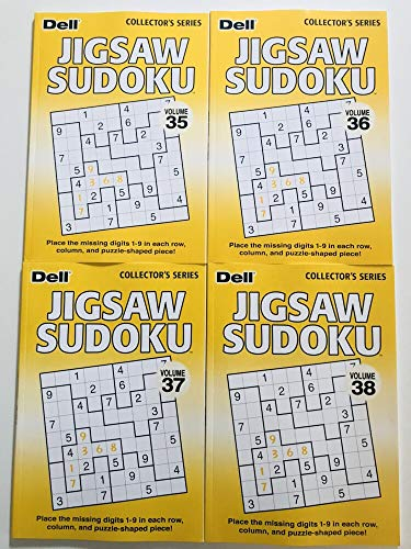 Volume 35, 36, 37, and 38 of Jigsaw Sudoku Puzzles from Dell Collectors Series