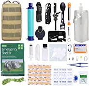 GRULLIN Emergency Survival Kits Gear, 60-in-1 Outdoor IFAK Trauma Pouch First Aid Tools Kits with Water Filter