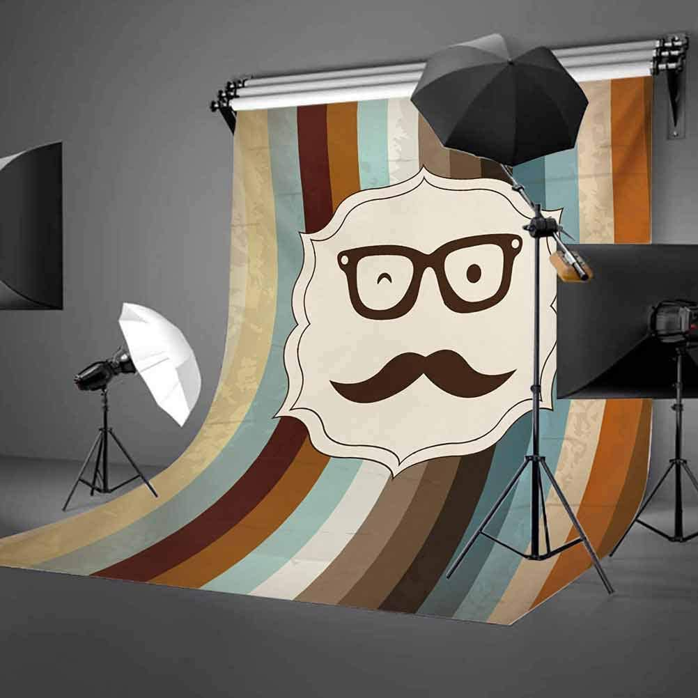 Modern 6.5x10 FT Photography Backdrop Funny Man Face with Moustache and Glasses Winking on Striped Background Sir Artwork Background for Baby Shower Bridal Wedding Studio Photography Pictures