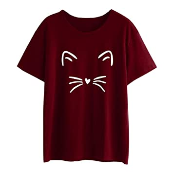 VENMO Ropa Camisetas Mujer Verano,❤Venmo Mujeres Camisetas Blusas de Manga Corta Casual O-Cuello Gato Impreso Blusa Tops Camiseta: Amazon.es: Deportes y ...