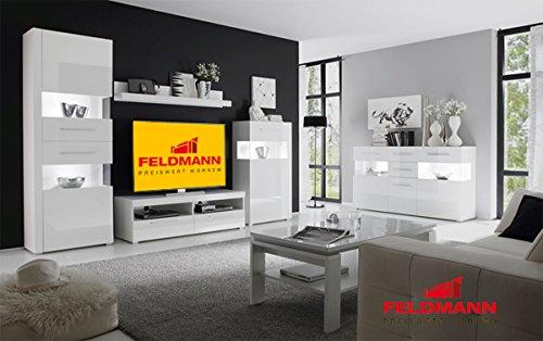 Wohnzimmer 440908 komplett weiß / weiß Hochglanz 6-teilig