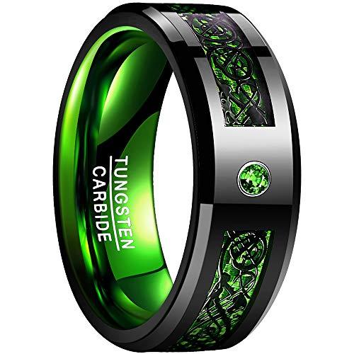 NUNCAD Unisex Ring aus Wolfram mit Grünem Zirkonia + Grünen Kohlefasern Keltisch Größe 54-67