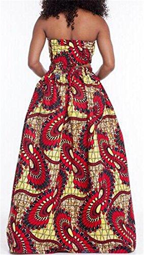 Cruiize Womens Impression Maxi Robe Fendue Occasionnels Culture Taille Haute En Tête Robe Plissée Comme Image