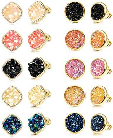53aebaac9 FUNRUN JEWELRY 10 Pairs Druzy Stud Earrings for Women Girls Resin Faux  Stone Round Square Earrings
