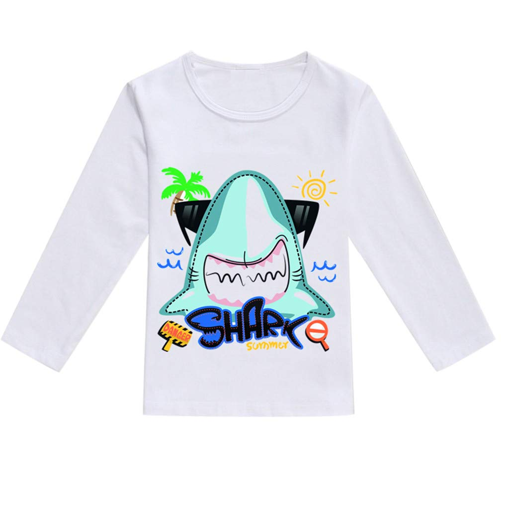 NUWFOR Toddler Baby Kids Boys Girls Spring Cartoon Print Tops T-Shirt Casual Clothes(Mint Green,12-18 Months)