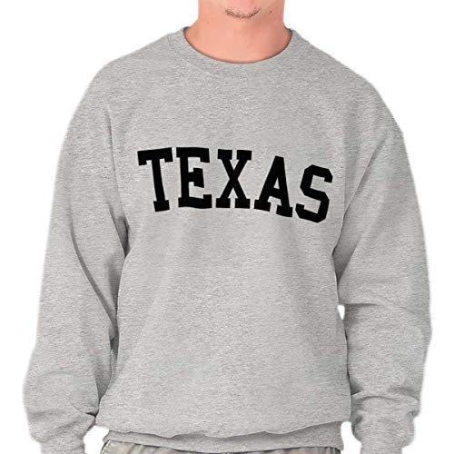 Classic Teaze Texas Athletic Student Gym TX State Pride Crewneck Sweatshirt Sport Grey