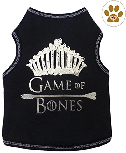 Dog Game Of Thrones Costume (Black Game of Bones Metallic Tank Shirt with Paw Button Pin - Dog Sizes XS thru L (L - Chest 18