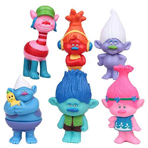 Max Fun Set of 6, 3-Inch-Tall DreamWorks Movie Trolls Action Figures Cake Toppers