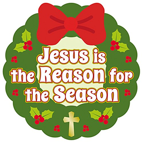 Jesus is the Reason for the Season Christmas Wreath Auto Magnet Bumper Sticker, 6 Inch